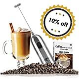 HBT Milk Frother Mixer Handheld Espresso Stirrers - Frothing Wand Battery Operated Electric Foam Maker for Coffee|Latte|Cappuccino|Hot Chocolate - Home Gifts Stainless Steel with Free Spoon|Ebook