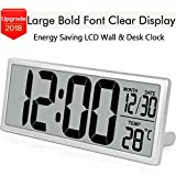 Cheap TXL 13.9″ Jumbo Digital Alarm Clock Battery Operate Extra Large LCD Display 4.6″ Bold Font Calendar, 12/24 Mode Temperature Energy Saving Office Kitchen School Warehouse Gym Wall/Desk Clock, Silver