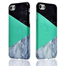 iPhone 5 Case For Girls, Sunroyal Ultra-thin Glitter Hybrid White Green Black Marble Pattern Printed Effect Soft Clear TPU Rubber Silicone Cover Protective Anti-Scratches Slim Shell For iphone 5s SE 5