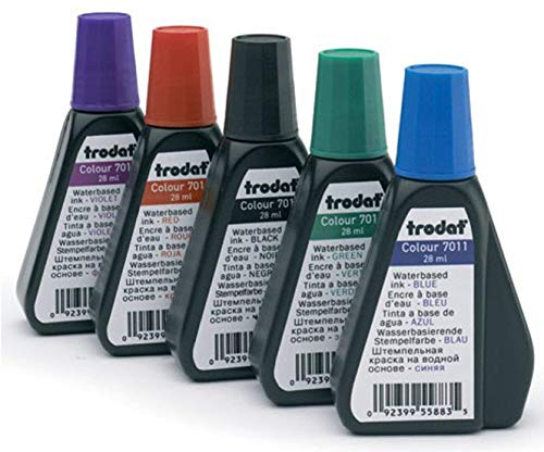 Re Ink Self Inking Stamps - 5 color water based Re-fill Ink for self inking Ideal/Trodat Stamps & stamp pads