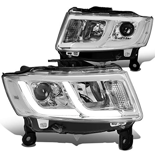 DNA Motoring HL-HPL-JGC14-CH-CL1Dual LED Running Light Design Projector Headlights Compatible with 14-16 Grand Cherokee