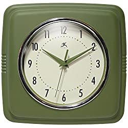 Infinity Instruments Square Retro 9.25 Wall Clock, Sage Green