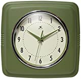 Infinity Instruments Square Retro 9.25' Wall Clock, Sage Green