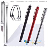 """The Friendly Swede Bundle of 3 Premium Branded 5.3"""" Universal Capacitive Stylus Pens + 4 Lanyards/Strings + Cleaning Cloth in Retail Packaging (Red Black Silver)"""