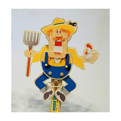 Wooden hand puppet - Dancing Farmer