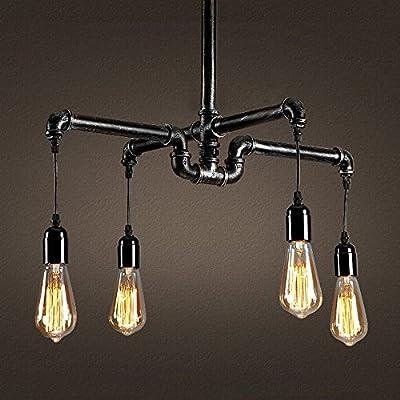 Ladiqi Industrial Chandelier Ceiling Light Vintage Water Pipe Chandelier Rustic Lighting Vintage Chandeliers