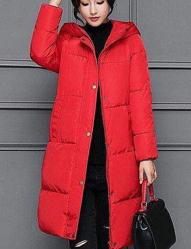 YYYURONG TT & ShangYi largo edredón de mujer manga larga, abrigo casual simple liso poliéster polipropileno, Red, 2x l