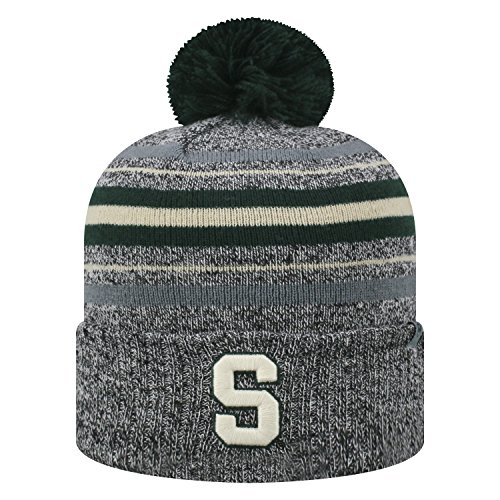 Top of the World Michigan State Spartans Official NCAA Cuffed Knit Sock Hop Stocking Stretch Hat Cap Beanie Pom 473024 (Michigan State Stocking Cap)