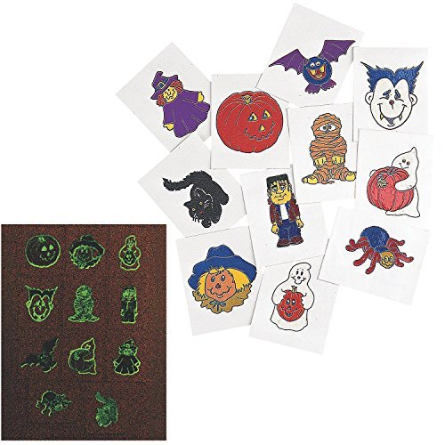 Fun Express Glow-in-The-Dark Halloween Tattoos (6 Dozen) - Bulk ()