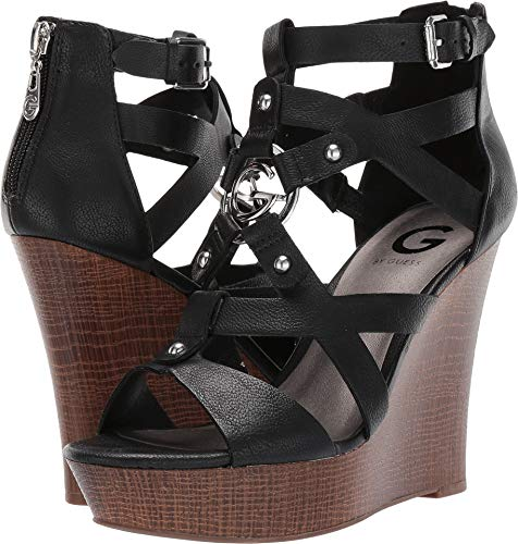 - G by GUESS Womens Dodge Faux Leather Caged Wedge Sandals Black 8 Medium (B,M)