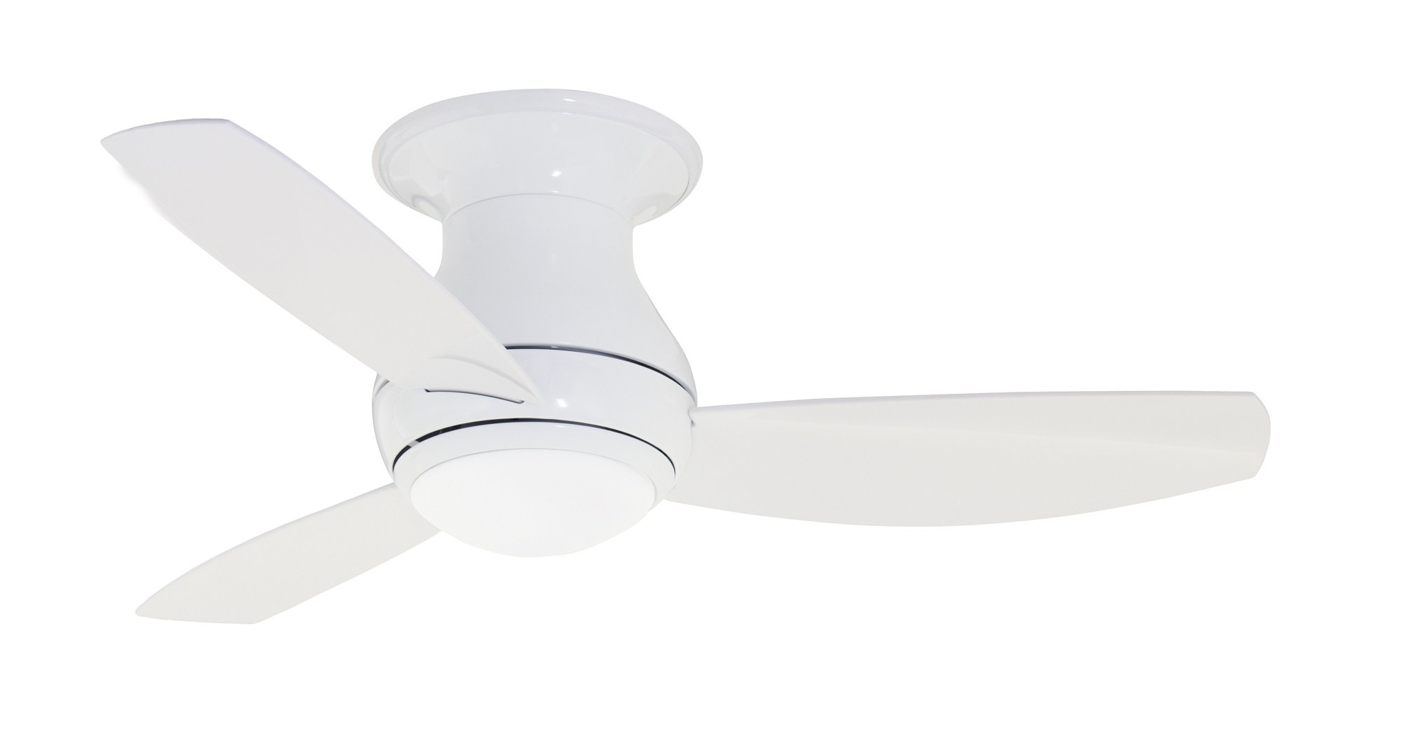 Emerson Ceiling Fans CF144WW, Curva Sky, Modern Low Profile Hugger, Indoor Outdoor Ceiling Fan With Light And Remote, 44-Inch Blades, Appliance White Finish by Emerson
