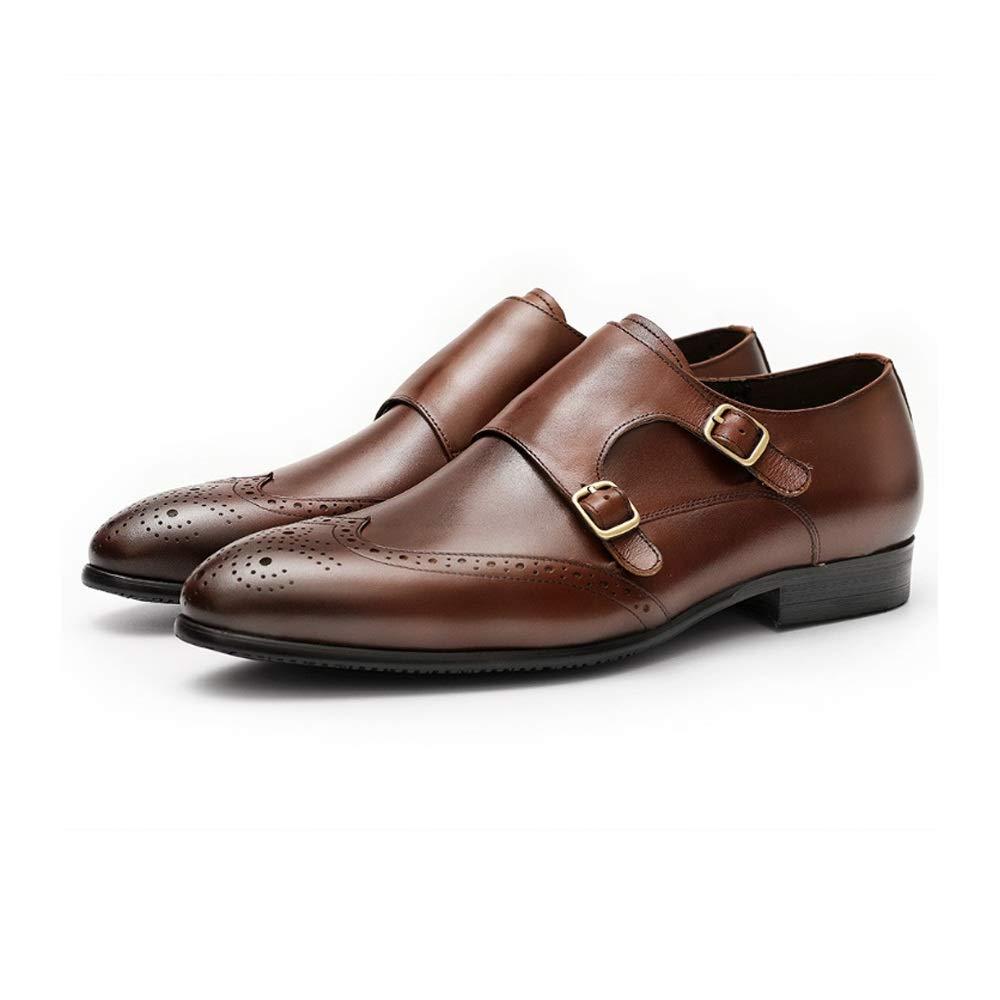 rutschfest runde Form Abriebfest Farbe : Braun, Gr/ö/ße : 37EU CATEER High-End-Handbrogue-Schuhe for Herren Wingtip-Halbschuhe mit doppelter Schnalle Slip-On-M/önchsband Echtes Leder