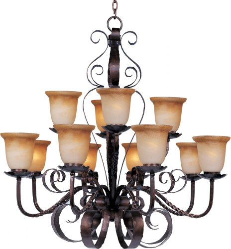 Maxim 20614VAOI Aspen 12-Light Chandelier, Oil Rubbed Bronze Finish, Vintage Amber Glass, MB Incandescent Incandescent Bulb , 60W Max., Dry Safety Rating, Standard Dimmable, Opal Glass Shade Material, Rated Lumens - Aspen 12 Light Chandelier