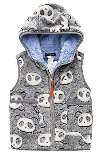 Happy Cherry Kids Girls Waistcoat Reversible Polar Fleece Cartoon Sleeveless Hooded Zipper Up Winter Vest 6-7T Gray