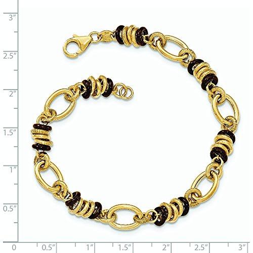 Marron et Or 14ct Fancy-Bracelet Femme-Lien Poli 20cm