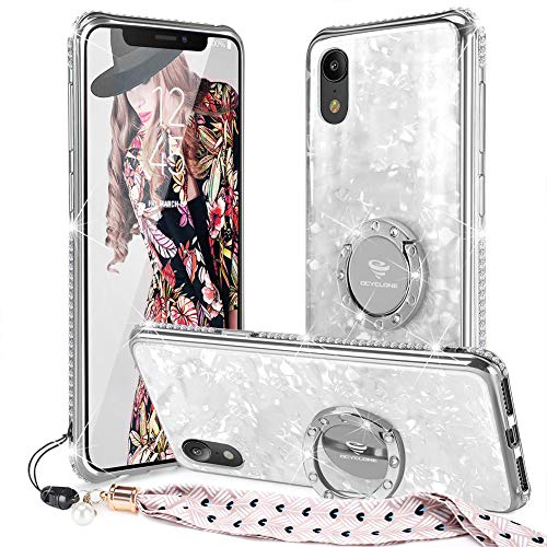 OCYCLONE iPhone XR Case Glitter with Ring Holder Grip Kickstand for Women Girls, [Tempered Glass] Bling Diamond Bumper with Ring Stand Cute Protective iPhone XR Case - -