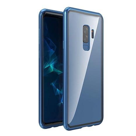 Christine - Carcasa de Cristal para Samsung Galaxy S9/S9 Plus /S8 y S8 Plus (con Ventosa magnética, Resistente a los arañazos), Transparent Blue, s9