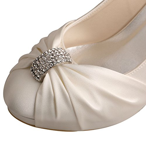 High Bridal Satin Party Heel Rhinestone MW643 Wedding Shoes Women's Pumps Round Toe Ivory Wedopus Xq6P88
