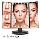 Trifold LED Lighted Makeup Vanity Mirror with 1x2x3x Magnification Touch Screen Dimmable Brightness 180 Rotation High Definition Clarity Gift For Teen Girl Mother Wife Room Decor (black)