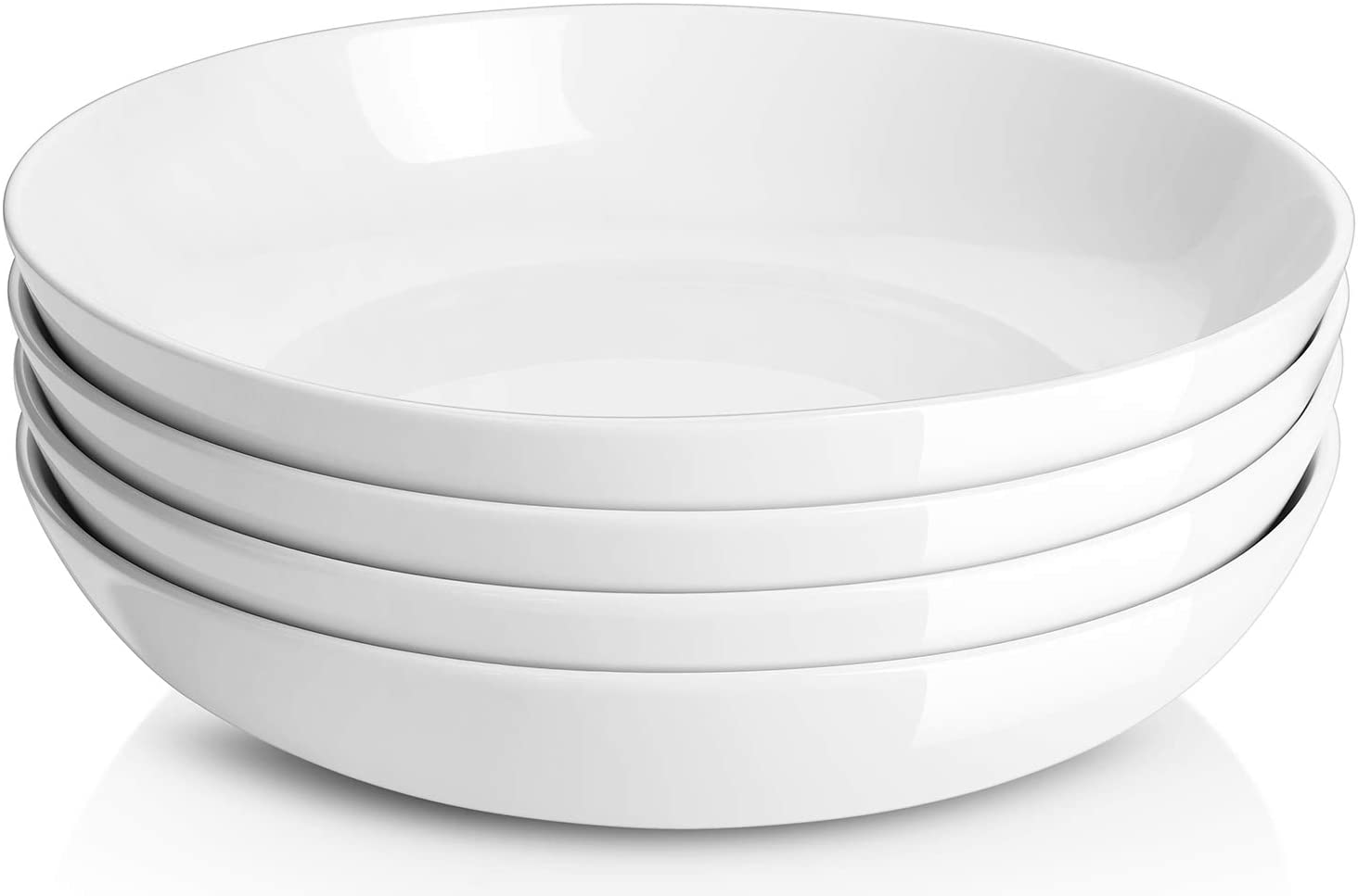 Y Yhy 9 75 Large Pasta Bowls 50 Ounces Big Salad Bowls Ceramic Serving Bowl Set Of 4 Wide And Shallow Plates And Bowls Set Microwave And Dishwasher Safe White Kitchen