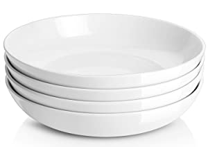 Y YHY 50 Ounces Porcelain Pasta Bowls, 9.75 Inches Salad Serving Bowls, Large and Wide, Set of 4, White