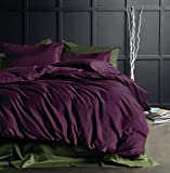 Purple Duvet Cover Eikei Solid Color Egyptian Cotton Duvet Cover Luxury Bedding Set High Thread Count Long Staple Sateen Weave Silky Soft Breathable Pima Quality Bed Linen (King, Deep Plum)