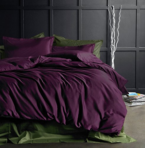 Eikei Solid Color Egyptian Cotton Duvet Cover Luxury Bedding Set High Thread Count Long Staple Sateen Weave Silky Soft Breathable Pima Quality Bed Linen (King, Deep Plum) (Duvet Cover Plum King)