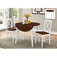 Kings Brand Furniture 3 Piece Wood Dinette Drop Leaf Table & 2 Chairs Dining Set, Cherry/White