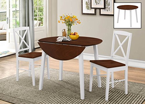 kings brand furniture 3 piece wood dinette drop leaf table u0026 2 chairs dining set cherrywhite