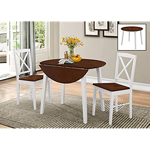 Kings Brand Furniture 3 Piece Wood Dinette Drop Leaf Table U0026 2 Chairs  Dining Set, Cherry/White