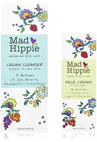 Mad Hippie Facial Cream Cleanser & Anti-Wrinkle Peptide Face Cream Bundle with Squalene, Organic Macadamia, Sesame, Safflower, Argan Oils, and Green Tea Extract, 4 fl. oz. and 1.02 fl oz each