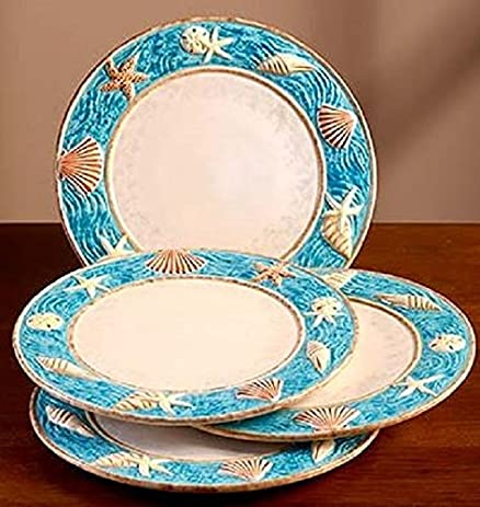 Dinnerware Set Service for 4 8 12 Coastal Seashell Blue and White Earthenware (  sc 1 st  Amazon.com & Amazon.com | Dinnerware Set Service for 4 8 12 Coastal Seashell ...