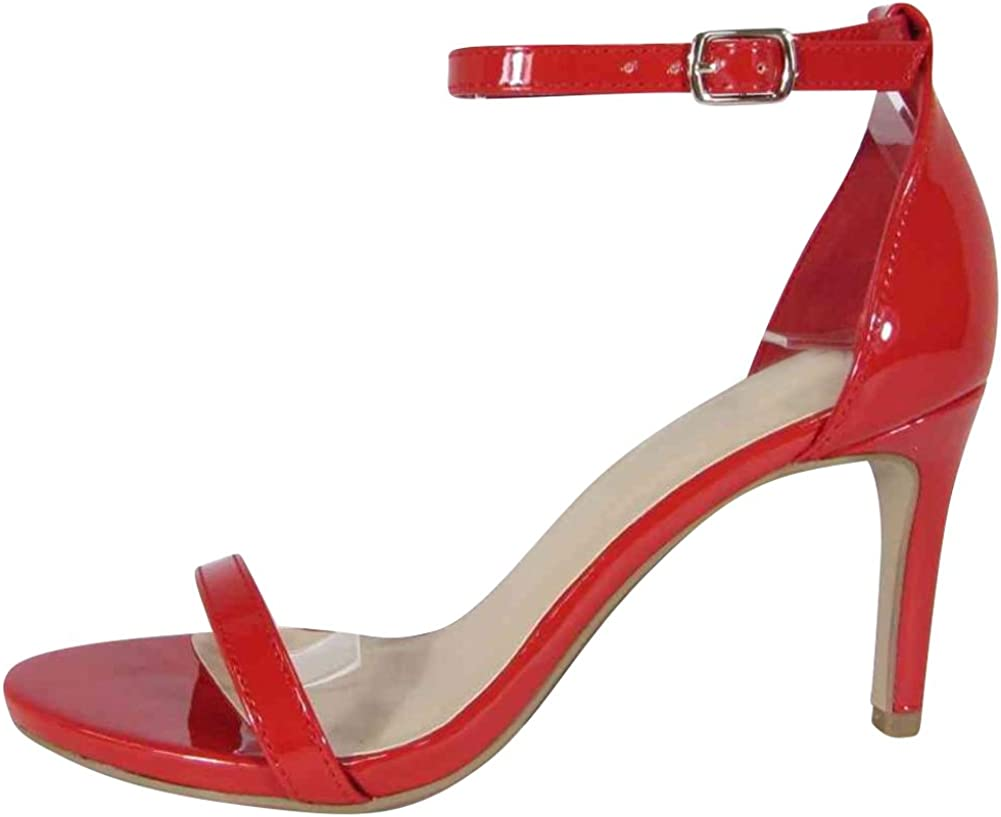 Cambridge Select Womens Classic Open Toe Single Band Buckled Ankle Strap Mid Heel Sandal