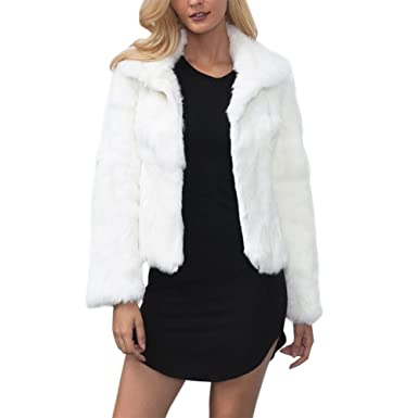 5722c25ff6dc iBaste Womens Fashion Solid Color Stand Collar Long Hair Faux Fur Jacket  Coat Winter Warm Keeping Casual Overcoat Outwear: Amazon.co.uk: Clothing