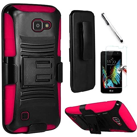 LG Optimus Zone 3 / LG K4 VS425 / LG Spree case, Luckiefind® Dual Layer Hybrid Side Kickstand Cover Case With Holster Clip, Stylus Pen, Tempered Glass Screen Protector Accessory (Holster (Lg Optimus Cell Phone Holster)