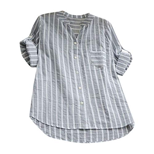 - 【MOHOLL】 Womens Striped V Neck Blouses Loose Long Sleeve Tops Pocket Button Top T Shirts Plus Size Gray