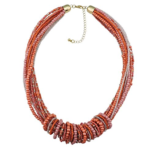 Bocar Chunky Statement Colorful Seed Beads Women Choker Collar Necklace (306)