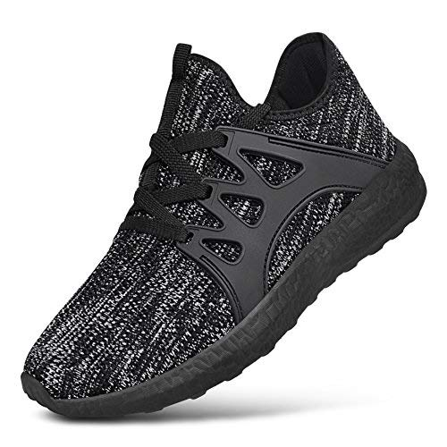 (Feetmat Boys Grils Sneakers Lightweight Athletic Sports Running Shoes Breathable Tennis Shoes Black Grey 3.5)