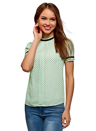 oodji Ultra Womens Flowing Blouse with Contrast Details