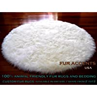 Fur Accents Classic Round Sheepskin Rug Shaggy Off White Faux Fur (5 Ft Diameter)