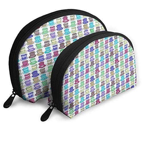 - 2pcs Multicolored Teacup Design in Squared Polka Dotted Lined Cosmetic Bag Travel Makeup Pouch Bag Portable Shell Makeup Bag Clutch Toiletry Pouch with Zipper