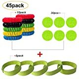 Pack of 45 All Natural Mosquito Insect Repellent Bracelet and Patches Set for Kids, Toddler & Adults - Non Toxic Travel Size Mosquito Bug Repellent Wristband and Patch