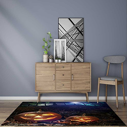 modern rugs Halloween pumpkins on rocks in a forest at night Resistant Contemporary Soft Plush QualityW24 x L35.5 INCH ()