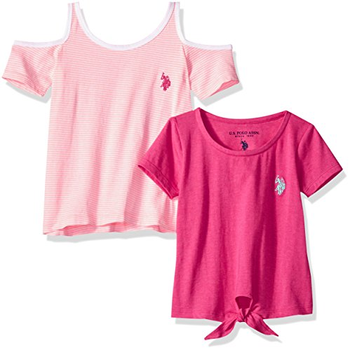 U.S. Polo Assn. Girls' Little 2 Pack T-Shirt, Apricot Stripe neon Pink Jersey Multi, 4