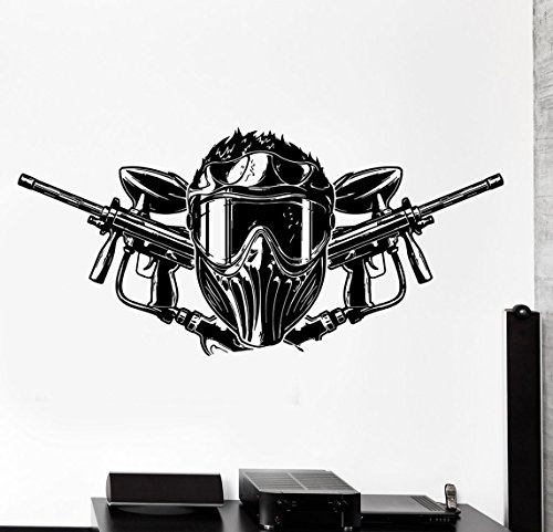 BorisMotley Wall Decal Paintball Airsoft Guns Helmets Vinyl Removable Mural Art Decoration Stickers for Home Bedroom Nursery Living Room ()