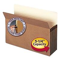 """Bolsillo de archivo Smead, lengüeta de corte recto, expansión de 5-1 /4 """", tamaño legal, cuerda roja, 10 por caja (74234)"""