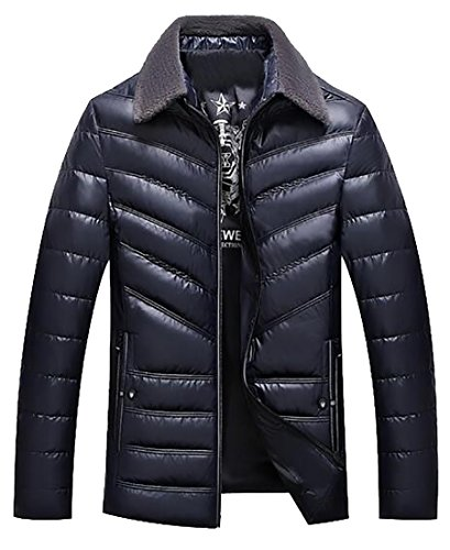 Hot Sale-UK Men's Winter Faux Fur Collar Zip-Up Quilted Padded Down Jackets Coat Navy blue