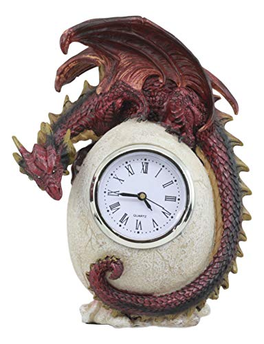 (Ebros Red Ember Dragon Protecting Egg Table Clock Figurine 7