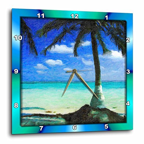 3dRose DPP_48101_2 Painted Palm Tree Wall Clock, 13 by 13-Inch