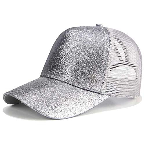 Baseball Cap Women Snapback Dad Hat Mesh Trucker Caps Messy Bun Summer Hat Female Adjustable Hip Hop Hats,Glitter Grey,No Logo ()